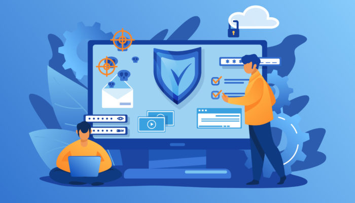 Personal digital security. Defence, protection from hackers, scammers flat vector illustration. Data breaches, data leakage prevention concept for banner, website design or landing web page